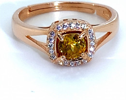 Sphene 1.20ct Rose Gold Finish Solid 925 Sterling Silver Ring