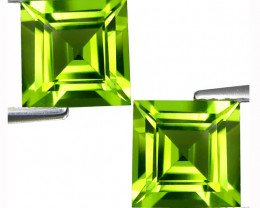 5.65Cts Genuine Excellent Natural Peridot 8mm Square Matching Pair