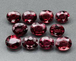 11pcs Lot 19.26ct t.w Oval Natural Reddish Purple Rhodolite Garnet, Tanzani