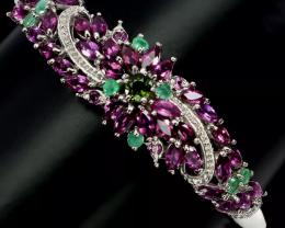 Mesmerizing Natural 105tcw. Rhodolite Garnet emerald Bangle Untreated