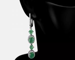 Astounding 50tcw. All Natural Brazilian Emerald Earrings Retail $1850