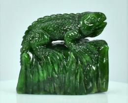 Rare! 69.92ct Horny Iguana Carving Natural Untreated Green Nephrite Jade, C