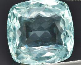 CERTIFICATE Incl.*24.86ct Cushion Natural Unheated Bluish Green Aquamarine