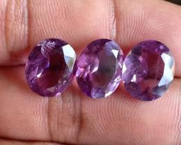 3 Pcs Amethyst Natural Gemstone Faceted Unheated Untreated VA1318
