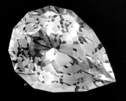 5.30 Cts Dazzling Facet Natural White Topaz Pear Custom Cut Ref VIDEO
