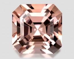 3.23Cts Beautiful Natural Peach Pink Color Morganite  Asher Cut  Loose Gem