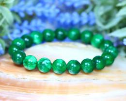 10.0mm 142.00Ct Natural Green Jade Beads Bracelet SA96