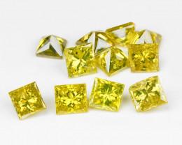 Yellow Diamond 0.41 Cts 12Pcs Sparkling Fancy Greenish Yellow Natural