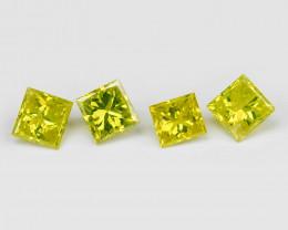 Yellow Diamond 0.12 Cts 4Pcs Sparkling Fancy Greenish Yellow Natural