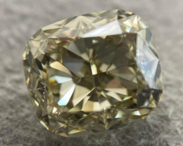 GIA Cushion 4.20ct. Natural Loose Fancy Brown Greenish Yellow VVS1 Diamond
