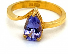 Tanzanite 1.44ct Solid 22K Yellow Gold Ring