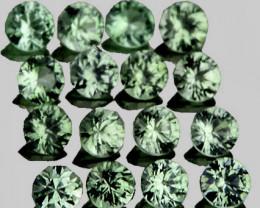 1.60 mm Round Machine Cut 40pcs 0.91ct Green Sapphire [VVS]