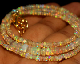 22.75 Crts Natural Ethiopian Welo Opal Beads Necklace 750