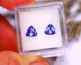 Tanzanite 1.78Ct 2Pcs Natural VVS Purplish Blue Tanzanite E3103/A45