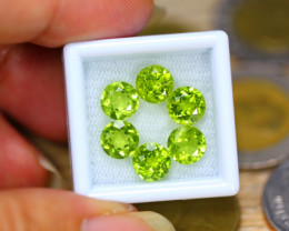 8.72ct Natural Green Peridot 6.9mm Round Cut Lot V8232