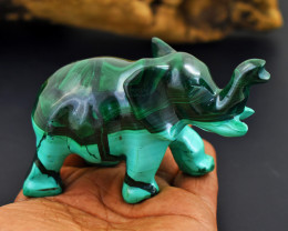 Genuine 1100.00 Cts Malachite Elephant Carving
