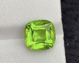 Parrot Green Color 4.70Ct Natural Step Cushion Cut Top Quality Peridot
