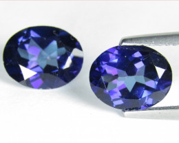 5.88Cts Stunning Color Coated Tanzanite color Topaz Oval Matching Pair
