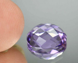 3.48 Cts Natural Purple Amethyst Oval Checkerboard Cut Brazil