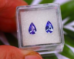 Tanzanite 1.36Ct 2Pcs Natural VVS Purplish Blue Tanzanite E0204/A45
