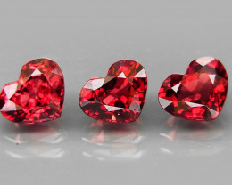 3.45 Ct. /   3Pcs  Natural Earth Mined Red Rhodolite Garnet Africa