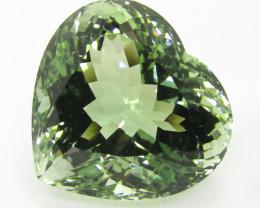 27.56Cts Stunning Natural Green Amethyst (prasiolite) Heart Shape