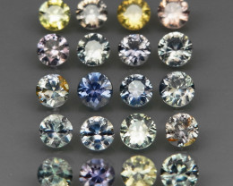 20 Pcs/4.11 Ct.Diamond Cut 3.5 mm.UNHEATED! Fancy Color Sapphire Songea