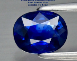 6x4.7mm - 0.77ct  Royal Blue Sapphire - UNHEATED / Africa