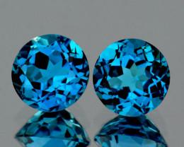 6.00 mm Round 2 pcs 2.11cts London Blue Topaz [VVS]
