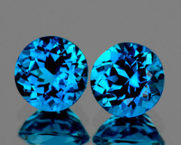 6.00 mm Round 2 pcs 2.10cts London Blue Topaz [VVS]