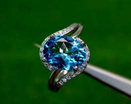 18.15CT BLUE TOPAZ 925 SILVER RING 6 BEST QUALITY GEMSTONE IIGC96