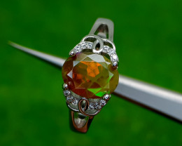 14.85CT FACETED OPAL HIGH FIRE 925 SILVER RING 7 BEST QUALITY GEMSTONE IIGC