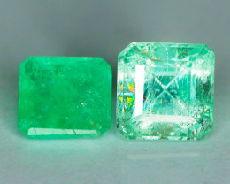 2.88 Cts Paired Untreated Rich Green Colombian Emerald Gemstone