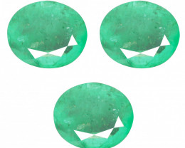 6.15 Cts 3 Pcs Untreated Rich Green Colombian Emerald Gemstone