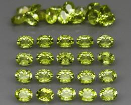 35 pcs 6.73  Ct. 4x3mm. Natural Top Rich Apple Green Peridot Pakistan