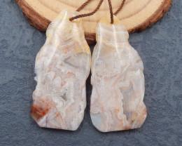 D2466 - 60cts Natural Agate gemstone earrings bead pair,free shape high qua