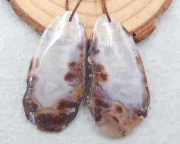 D2468 - 56.5cts Natural Warring States Red Agate gemstone earrings bead pai