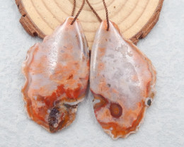 D2469 - 91cts Natural Warring States Red Agate gemstone earrings bead pair,