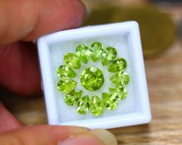 6.89ct Natural Green Peridot Pear Cut Lot V8276