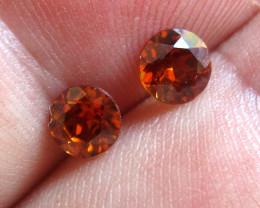 1.36cts Natural Australian Burnt Orange Zircon Matching Round Shape