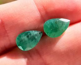 5.02 - Natural Brazilian emerald – Pair - Pear Cut
