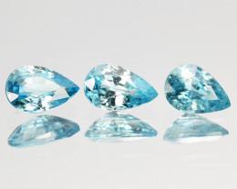 1.69 Cts Natural Sparkle Blue Zircon 3 Pcs SET Faceted Cambodia Gem