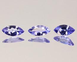 0.62 Cts Natural Purple Blue Tanzanite 6 X 3mm Marquise 3Pcs Tanzania