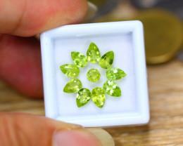 4.25ct Natural Green Peridot Pear Cut Lot GW9414