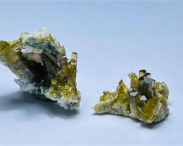 Amazing Natural color Damage free Cute 2 Epidote cluster specimen 19Cts-P