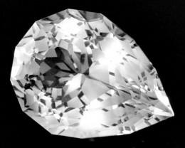 9.88 Cts Glamorous Natural White Topaz Pear Custom Cut Ref VIDEO