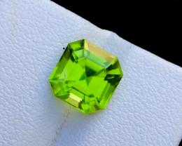 Top Color 4 Ct Natural Himalayan Ashar Cut  Peridot Gemstone