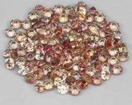 3.13 Ct 1.7mm 110p Round Diamond Cut 100% Natural Top Padparadscha Sapphire