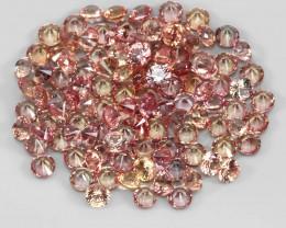 3.15 Ct 1.7mm 110p Round Diamond Cut 100% Natural Top Padparadscha Sapphire