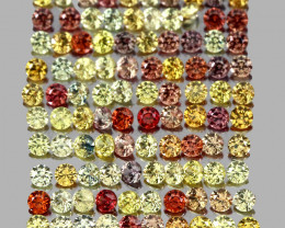 3.14ct. 1.7mm. 110pcs. Round Diamond Cut 100% Natural Multi-Color Sapphire